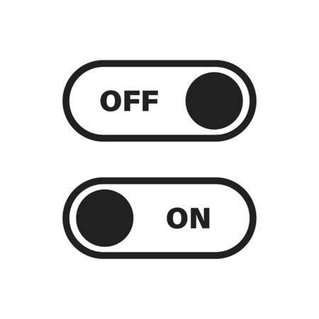 Toggle switch vector icon in trendy flat style for web design. Mobile app interface design concept. Press button icon vector. Switch sign symbol. Web icon push-button power. EPS 10 向量圖像