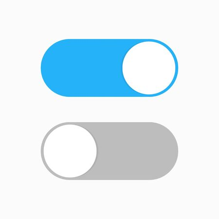 Switch toggle blue grey isolated vector element. User On and Off button symbol sign. Technology concept. Internet or wed technology. ESP 10 向量圖像