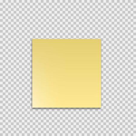 Realistisch klebrig mit Schatten. Modell auf transparentem Hintergrund. Gelbes leeres Papier. Leeres Aufkleberdesign. Poster-Banner. Hinweisaufkleber posten. EPS 10
