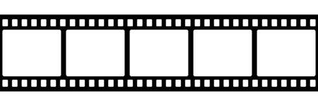 Icono de vector aislado de tira de película. Imagen retro con icono de tira de película. Rollo de tira de película. Vector de marco de tira de película fotográfica de cinta de vídeo. EPS 10
