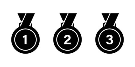 Medal icon isolated vector sign. Competition success first place best win celebration ceremony symbol. Championship competition icon. EPS 10 Illusztráció