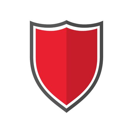 Shield isolated vector elment with shadow on white background. Safety protection. Blank button badge. Protection emblem. EPS 10 Imagens - 133016370