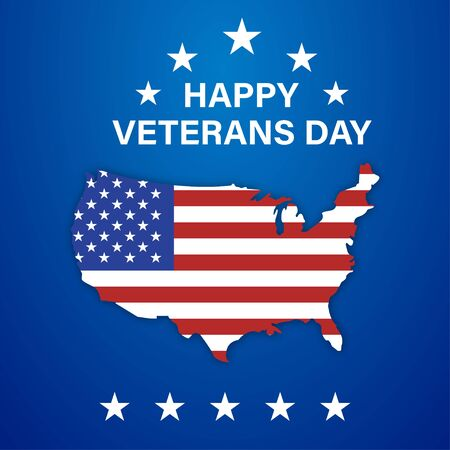 Happy veterans day isolated celebration usa with stars on blue background. Veterans day for banner design. Holiday card. National american holiday illustration. EPS 10 Stock Illustratie