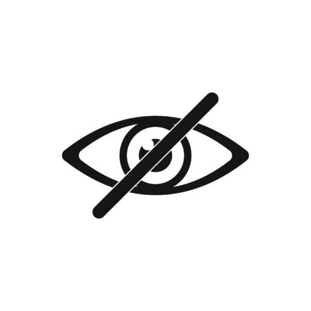 Eye no sign or icon isolated vector element. Flat eye no for concept design.Vector flat illustration. Eye icon vector. EPS 10