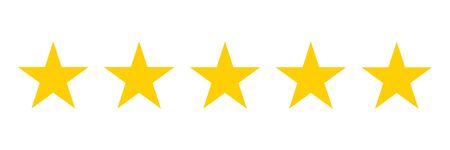 Five stars rating icon. Five golden star rating illustration vector. Premium quality customer service. Customer feedback ranking system. Feedback concept. EPS 10 Иллюстрация