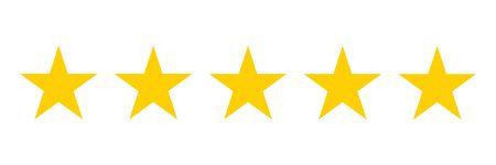 Icône de notation cinq étoiles. Vecteur d'illustration de cinq étoiles d'or. Service client de première qualité. Système de classement des commentaires des clients. Notion de rétroaction. EPS 10