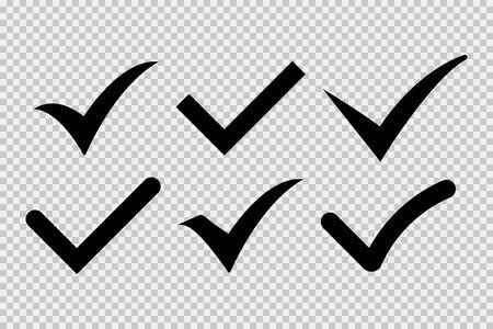 Häkchensymbol isolierte Vektorelemente auf transparentem Hintergrund. Schwarzes Häkchen-Symbol. Zeichensymbolelement. Bestätigungszeichen. Schaltflächensymbol für Checkliste. EPS 10