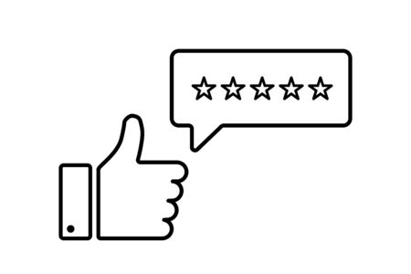 Thumb up linear rating 5 stars. Positive feedback symbol. Customer loyalty. Excellence icon. Customer service icon. User experience. Rating satisfaction. Customer review rating. EPS 10 Illustration