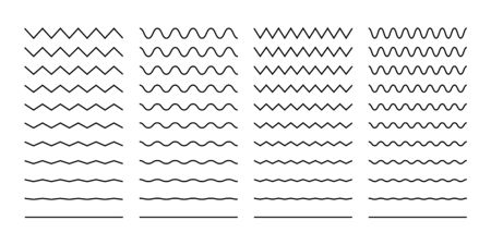 Wave set in abstract style on white background. Decoration element. Geometric design. Vector illustration ocean. Vector line design. Vector sound wave. Vector graphic set. EPS 10