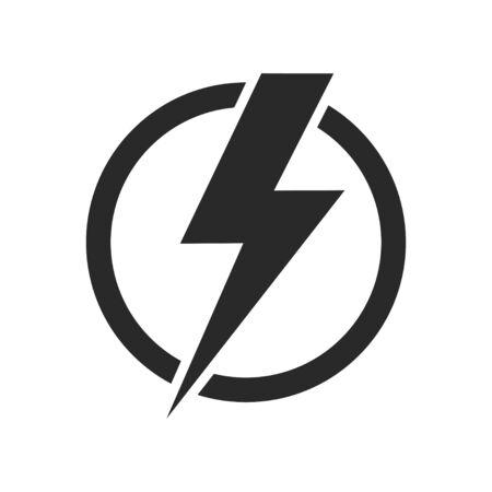 Icona di vettore isolato fulmine. Icona del flash del bullone elettrico. Simbolo di energia di potenza. Icona del tuono. concetto di cerchio. EPS 10 Vettoriali
