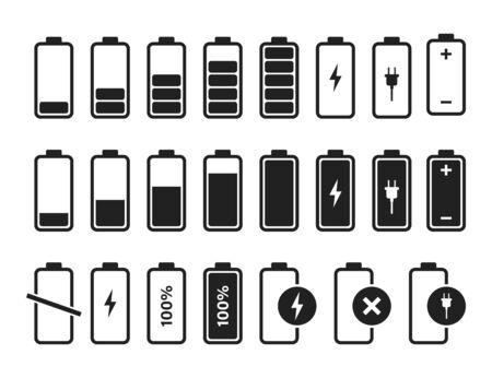 Wektor ikona ładowarki baterii. Symbol znak na białym tle wektor. Akumulator naładowany pełną mocą. Ikona niskiego poziomu naładowania baterii symbol naładowania baterii. EPS 10