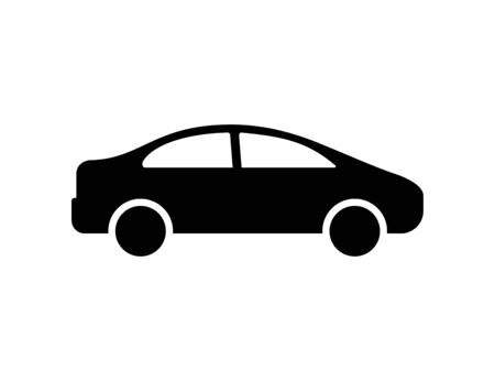 Car icon isolated vector element. Black car sign. Graphic vector Silhouette symbol. Car wheel.