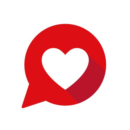 Heart in red speech bubble with shadow. Isolated vector illustration. Speech bubble vector icon. Heart shape. Valentine sign symbol. Notification like icon.