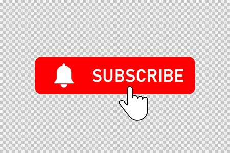 Subscribe red button with bell and hand clicking cursor. Subscribe button with bell and pointer.