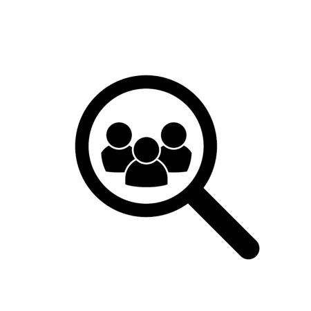 Loupe recherche personne icône isolé élément vectoriel. Concours de recrutement. Recherche d'emploi. Concept d'emploi de recrutement d'entrevue de ressources humaines.