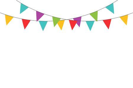 Realistic ribbon on yellow backdrop. Happy carnival. Confetti festive colorful carnival illustration. Celebrate background. EPS 10