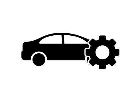 Car icon with wheel. Isolated vector symbol. Car service sign. Vector illustration garage. Car vector icon. Wrench sign symbol. EPS 10