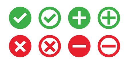 Check mark cross red green isolated vector icons. Flat illustration with red check cross on white background. Green tick, red cross. Flat vector icon. Vote symbol tick. EPS 10