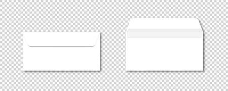 DL Envelopes vector realistic mockup template. Isolated on transparent background. Postcard design. Envelope office mockup paper letter mail illustration. Ilustracja