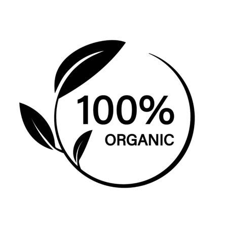100 organic. Leaf icon nature symbol template. Isolated vector icon. Ecology farm eco food. Fresh organic food.