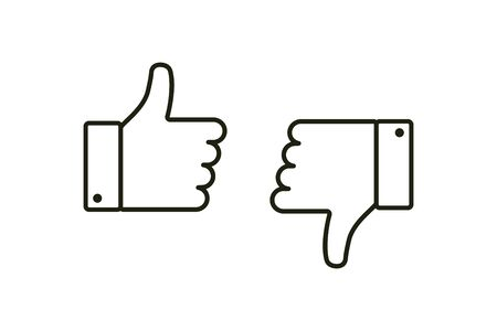 Thumb up and down. Isolated vector flat outline icon. Social media icon. Vector button. Black thumb up isolated icon. Vote symbol tick. EPS 10