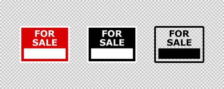 For sale sign isolated vector sign on transparent background. For sale sign. New house. Sold sign. EPS 10