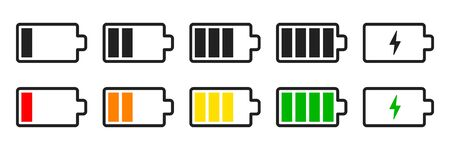Battery set vector icons isolated. Charge indicator concept.