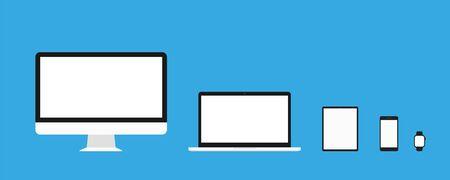 Urządzenie makieta wektor szablony na białym tle. Płaska konstrukcja ilustracja. Responsywny projekt strony internetowej. Komputer osobisty laptop tablet telefon i makieta ekranu zegarka. EPS 10