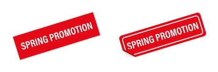Red sticker spring promotion vector isolated. Curved corner with shadows. Banner sale tag. Price flyer label. EPS 10