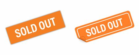 Sticker orange SOLD OUT vector isolated. Curved corner with shadows. Banner sale tag. Price flyer label. EPS 10 Stock Illustratie