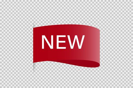Tag ribbon New red vector isolated design element. Banner sale tag. Product advertising. Label new icon. EPS 10