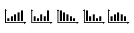 Economy vector isolated icons for financial report. Set of vector sign or symbols. Financial arrow graph. Profit stock market. Growth statistics. EPS 10 Ilustracja