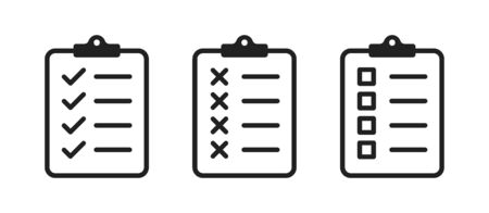 Clipboard checklist or document. Vector isolated icons or signs. Clipboard with checkmark cross and text. Clipboard concept vector. Checklist document. Clipboard icon vector. EPS 10