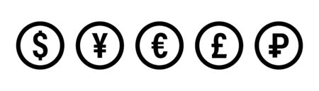 Currency icon. Vector isolated icons or signs. Dollar yuan euro pound publes signs or symbols. Finance, business currency exchange.