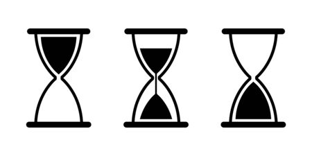 Hourglass sand glass vector isolated icons. Vintage black sand glass icon. Countdown clock counter timer vector isolated signs. EPS 10