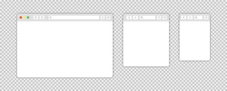 Browser window isolated vector web elements transparent background. Design template with browser window for mobile device design. Blank template. Vettoriali