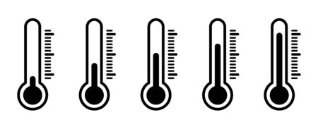 Thermometer temperature icons. Vector isolated icons. Thermometer vector isolated weather scale illustration vector temperature. Measuring weather indicator element. Measurement icon set. EPS 10