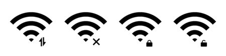 Wifi, wireless and signal connect. Vector isolated icon and signs. Internet connection concept.