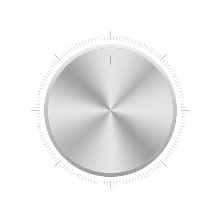Volume control knob tuner. Vector isolated illustration. Realistic aluminium level controller. Vetores