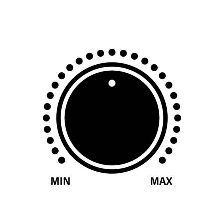 Volume knob level icon. Vector control icon. Sound control symbol. Music knob black vector sign. Dial knob icon. ESP 10