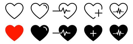 Heart icons isolated vector signs. Collection of vector heartbeats signs or linear icons.