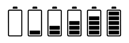 Battery set vector icons isolated. Charge indicator concept. Level battery energy