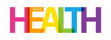 Helth colorful gradient letters. Vector isolated illustration. Healthcare concept. Vettoriali