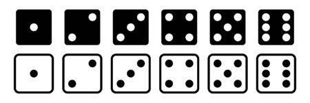 Dice vector set of icons. Gambling collection. Dice isolated black icon. Gamble chance leisure. EPS 10