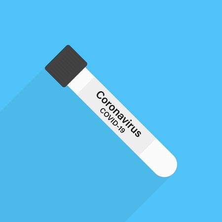 Test tube coronavirus. Vector isolated illustration. Flat illustration with test tube coronavirus for medical design. Ilustração