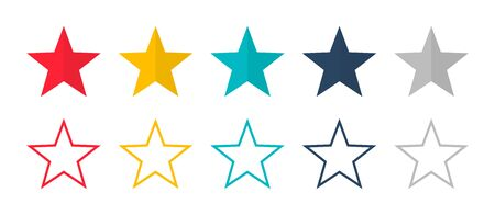 Stars vector isolated colored icon. Linear colored stars. Set of colored stars symbol or signs. EPS 10