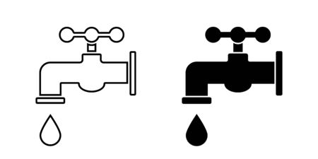 Tap water. Vector isolated icon. Faucet vector icon. Bathroom faucet icon. EPS 10 Illustration