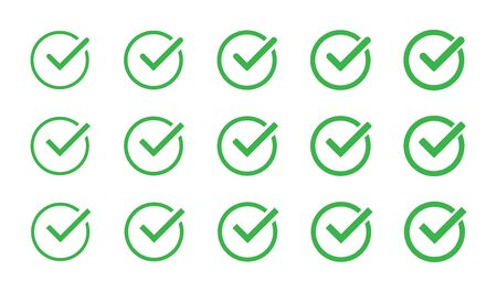 Green check mark icon set isolated vector elements. Tick approved symbol. EPS 10 Ilustrace