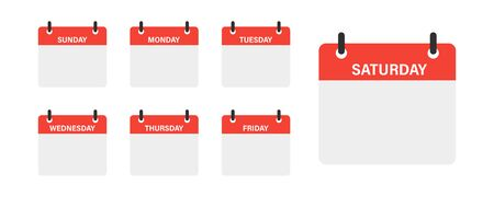 Calendar week isolated vector icons on white background. Week vector isolated calendar schedule. Business plan schedule. EPS 10 Illustration