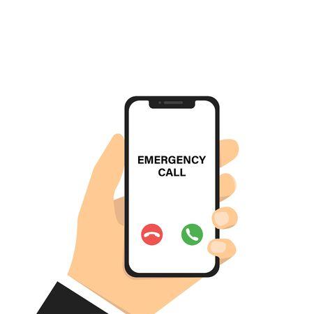 Emergency phone call. Vector illustration. Hand holding phone. Vector smartphone with emergency calling. Mobile phone mockup. Smartphone technology. EPS 10